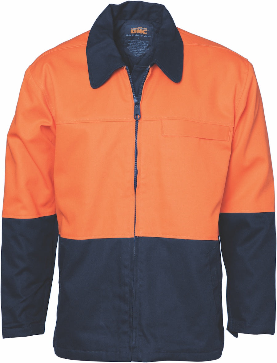 DNC - 3868 Hi Vis Two Tone Cotton Drill Jacket with Full Zip