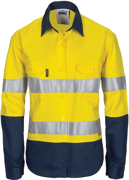 DNC - 3986 Ladies Hi Vis Two Tone Cool Breeze Long Sleeve Cotton Shirt with 3M Tape