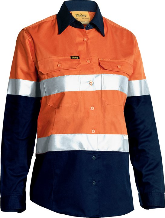 Bisley - BL6896 Womens 3M Taped Two Tone Hi Vis Cool Lightweight Shirt - Long Sleeve
