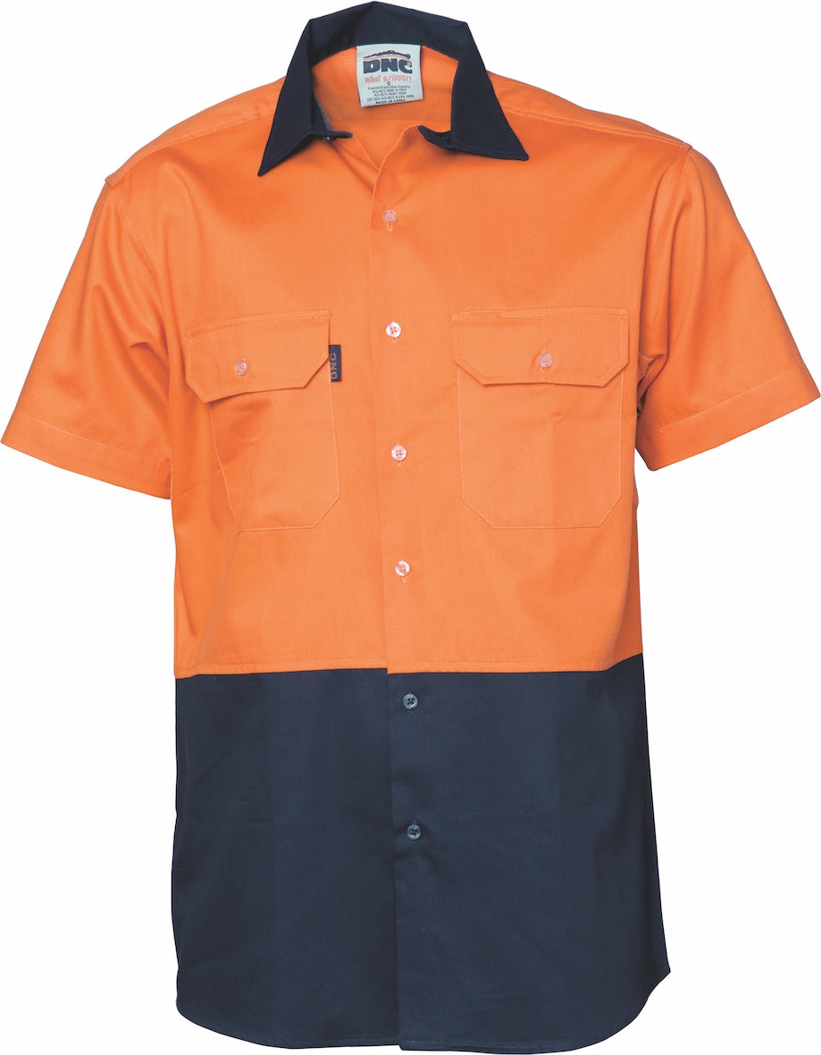 DNC -3980  HiVis Two Tone Cotton Drill Vented Shirt - Short Sleeve