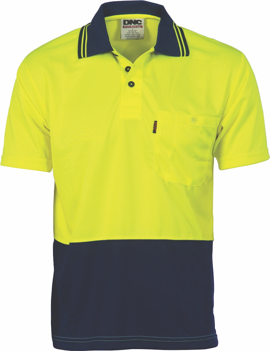DNC - 3811 Hi Vis Two Tone Cool Breathe Short Sleeve Polo Shirt