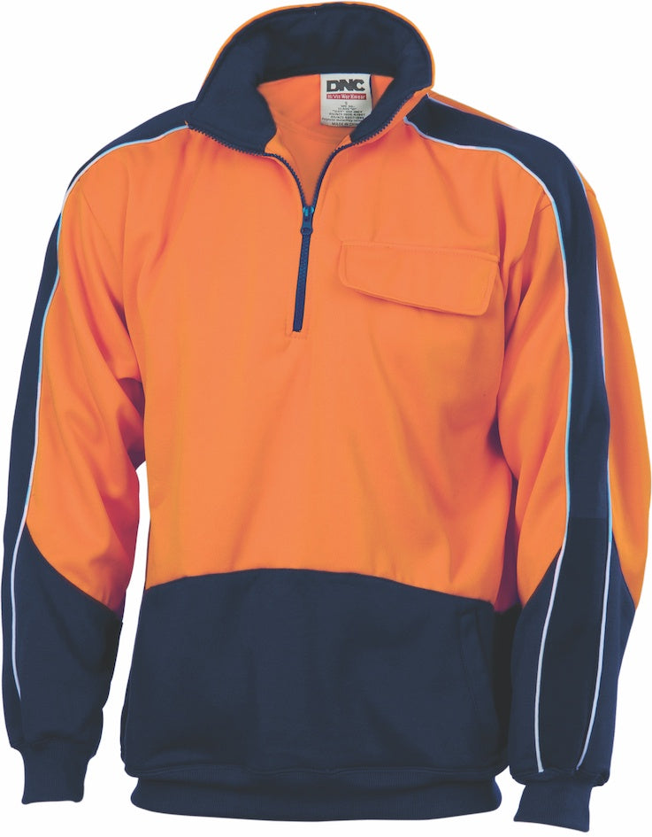 DNC -3823 Hi Vis Two Tone 1/2 Zip Hi Neck Panel Fleecy Windcheater