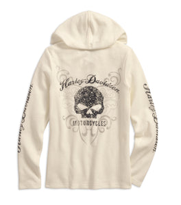 Scroll Skull Hooded Henley