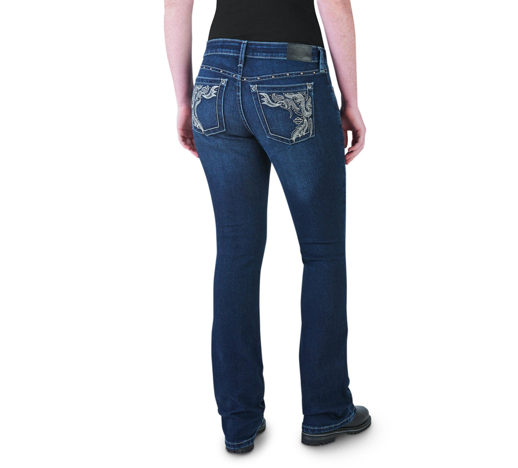 Curvy Performance Stretch Boot Cut Embellished Jeans