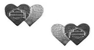 Black & Silver Double Heart Post Earrings
