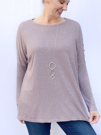 Button Detail Dolman Sleeve Top