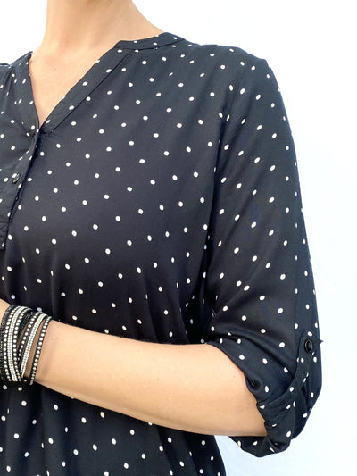 3/4 Sleeve Polka Dot Blouse