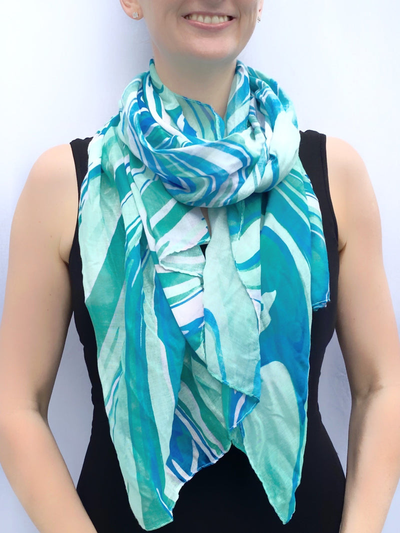 Teal Watercolour Scarf