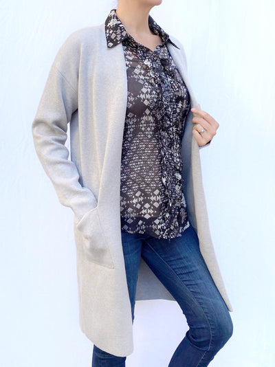 Winter Weight Cardigan in Silver