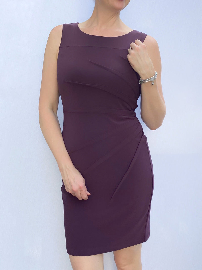 Frank Lyman Sunburst Rouching Dress in Aubergine