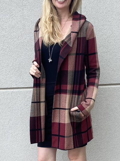 Frank Lyman Burgundy Plaid Cardigan