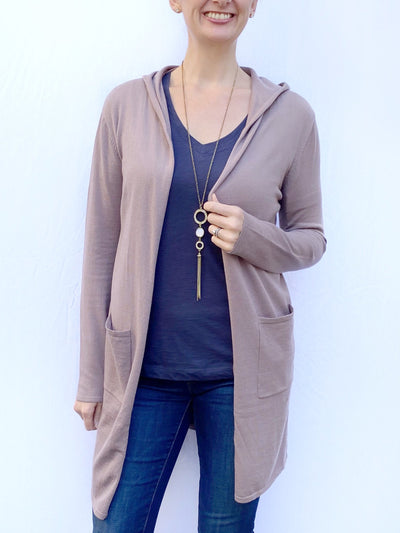 Hooded Lightweight Cardigan in Mulberry