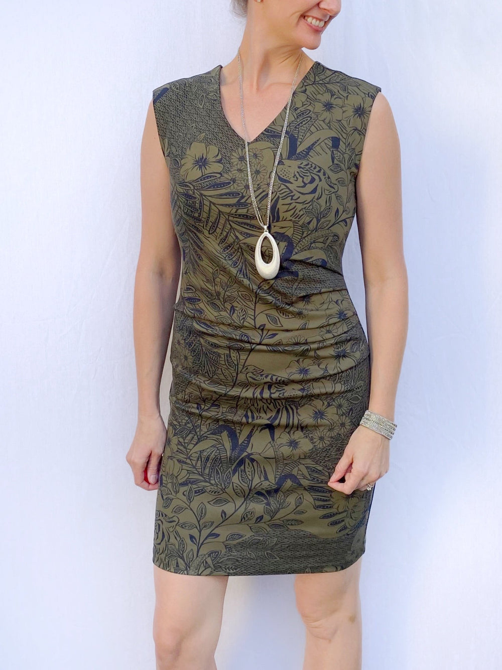 Rouched V-Neck Dress