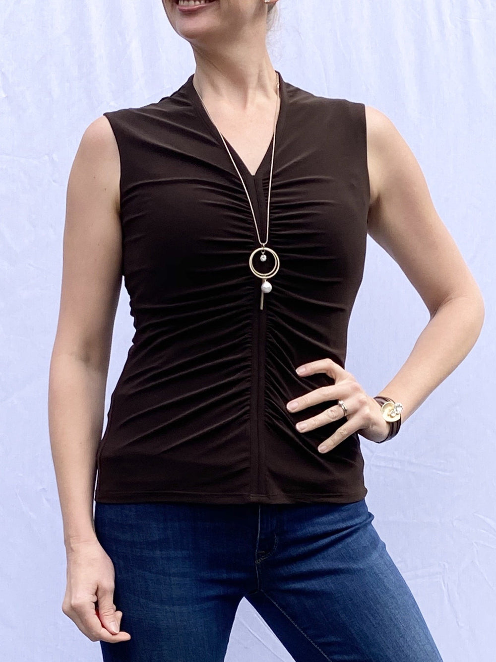 Frank Lyman Ruched Blouse in Mocha