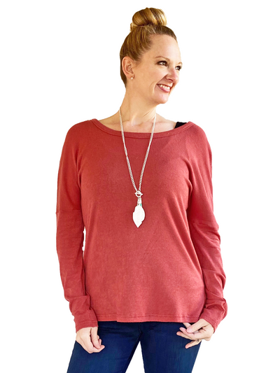 Orb Lilliana Split Hem Long-Sleeved Top in Terra Cotta