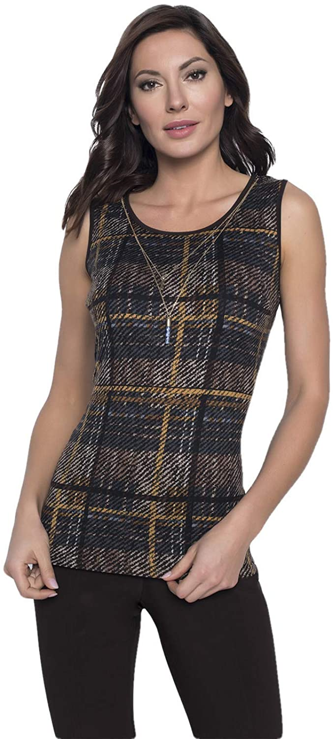 Frank Lyman Plaid Top with Necklace