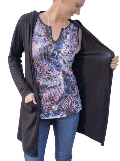 Hooded Lightweight Cardigan in Black