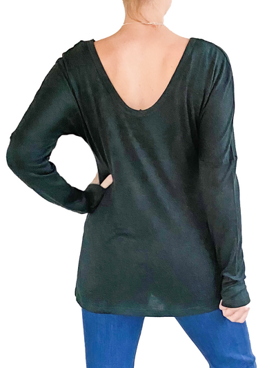 Orb Lilliana Split Hem Long-Sleeved Top in Emerald