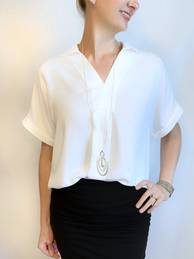 Renuar V-neck Blouse in White