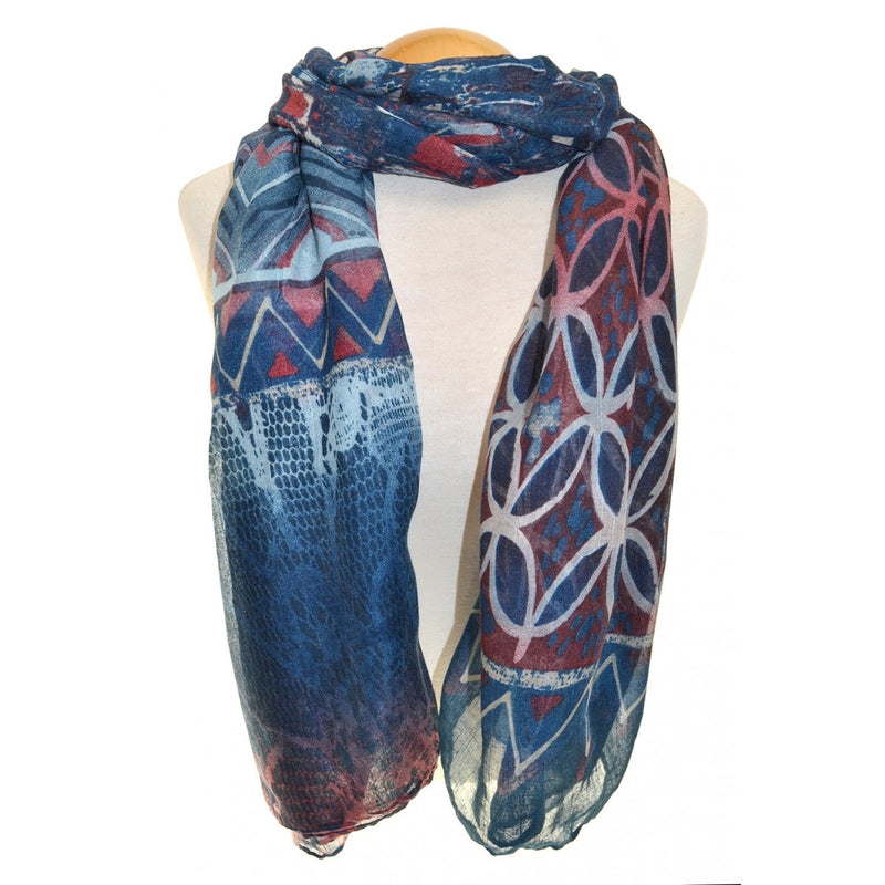 SCARF - Navy Violet Multiprint