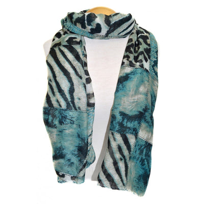 SCARF - Teal Animal Prinf