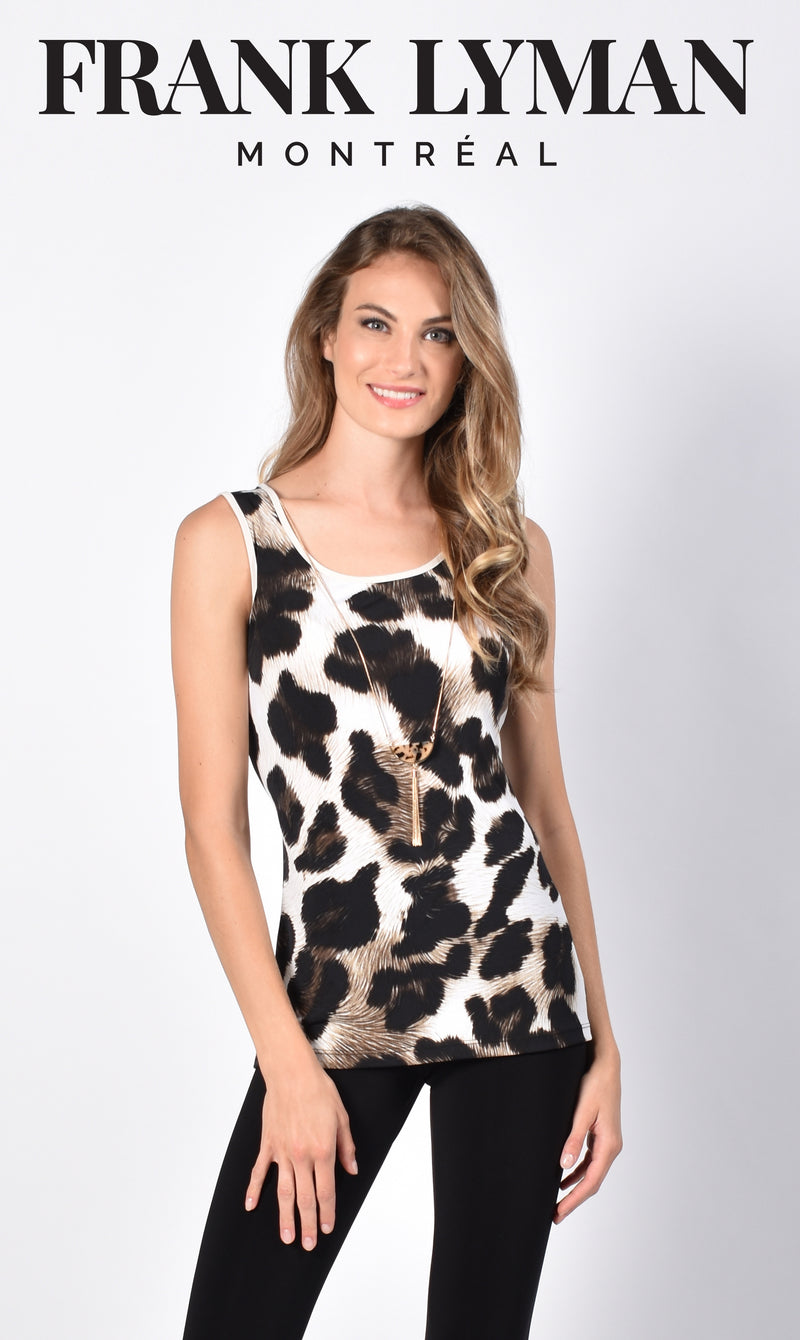 Frank Lyman Animal Print Top with Removable Necklace