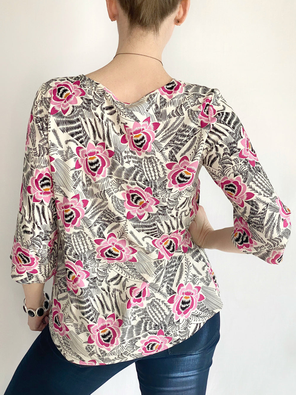Soyaconcept 3/4 Sleeve Geo-Floral Print Blouse