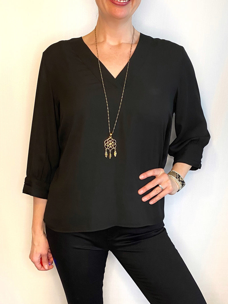 Soyaconcept 3/4 Sleeve Black Blouse