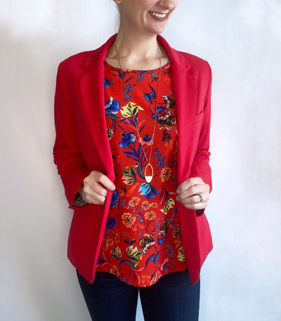 Renuar Mixed-Media Floral Top