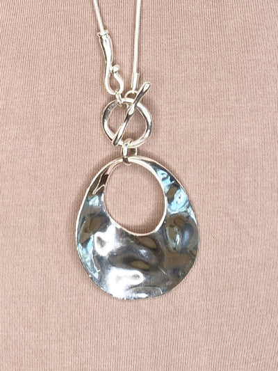NECKLACE - Mottled Silver Pendant