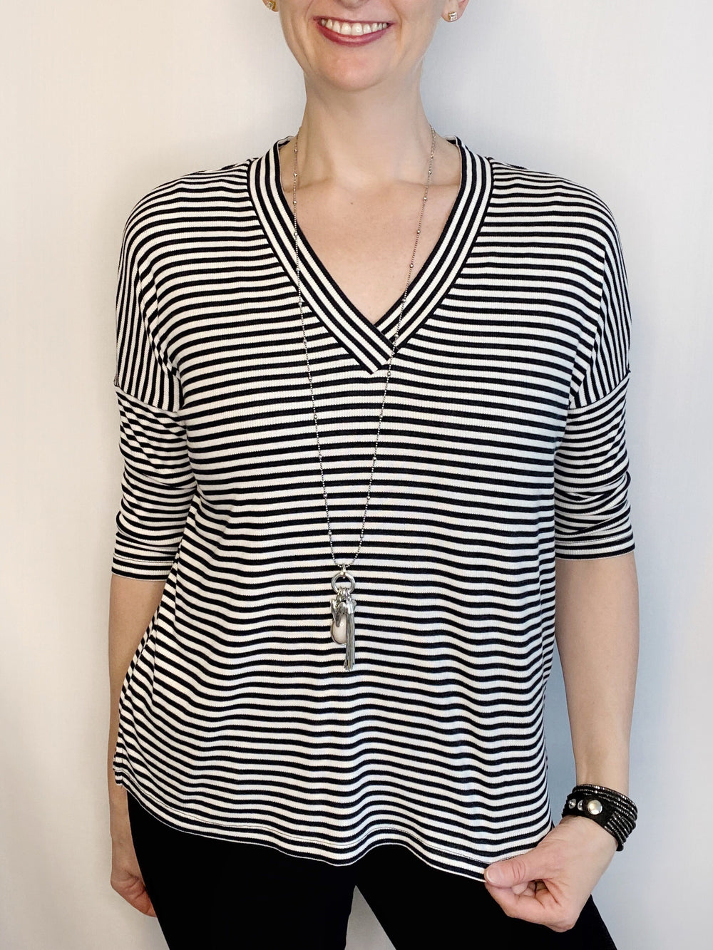 Soyaconcept Oversized 3/4 Sleeve Striped Tee