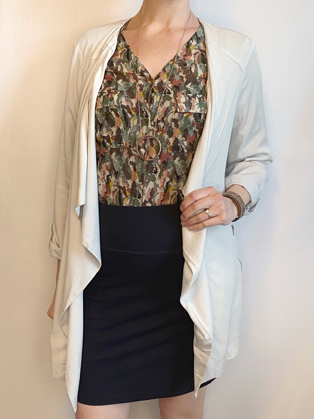 Lightweight Chambray Tencel Open Blazer