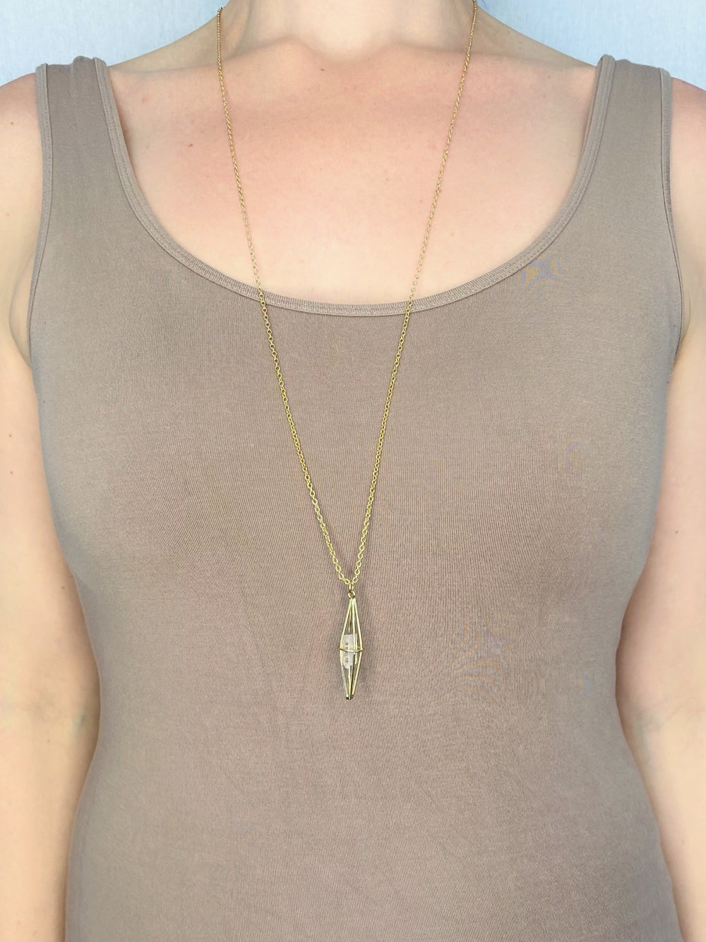 NECKLACE - CAGED CRYSTAL