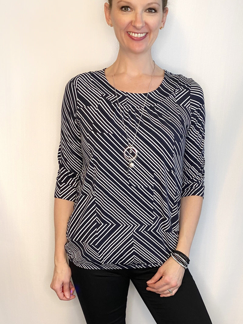 Soyaconcept Banded Bottom Geo Print Top