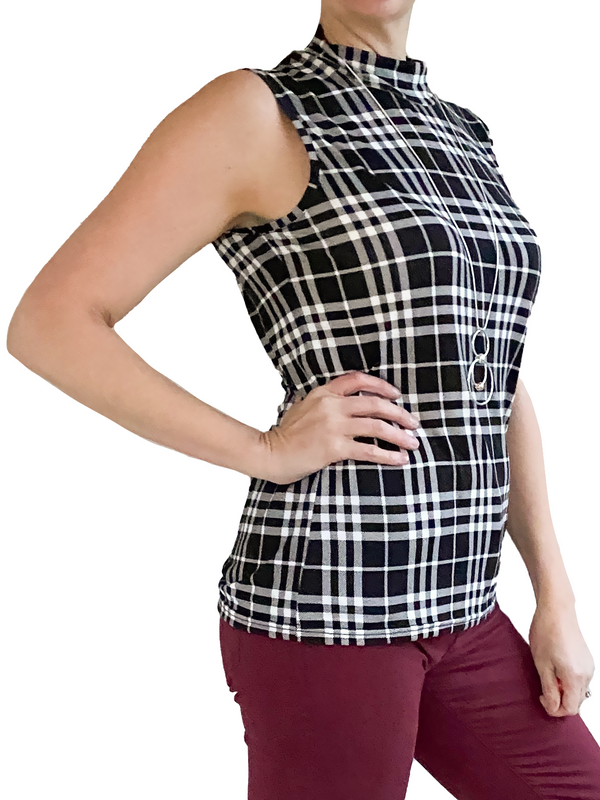 Orb Jody Sleeveless Top in Check