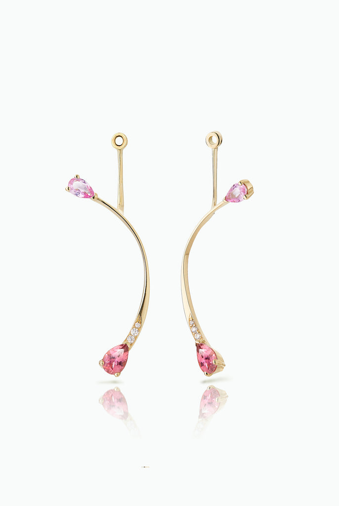 Long Cherry Flare Jackets. Graceful flow of line, handcrafted in 18 Carat yellow gold with pear shaped Sapphire and Pave Set Brilliant Cut Diamonds. Ideal for those who like to mix and match their earrings. Bought as a single or a pair.