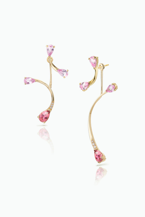 Pink Flare Studs with Rose More Jackets. Graceful flow of line, handcrafted in 18 Carat yellow gold with Pear Shaped Sapphires and Tourmalines and Pave Set Brilliant Cut Diamonds. Ideal for those who like to mix and match their earrings. Bought as a single or a pair.