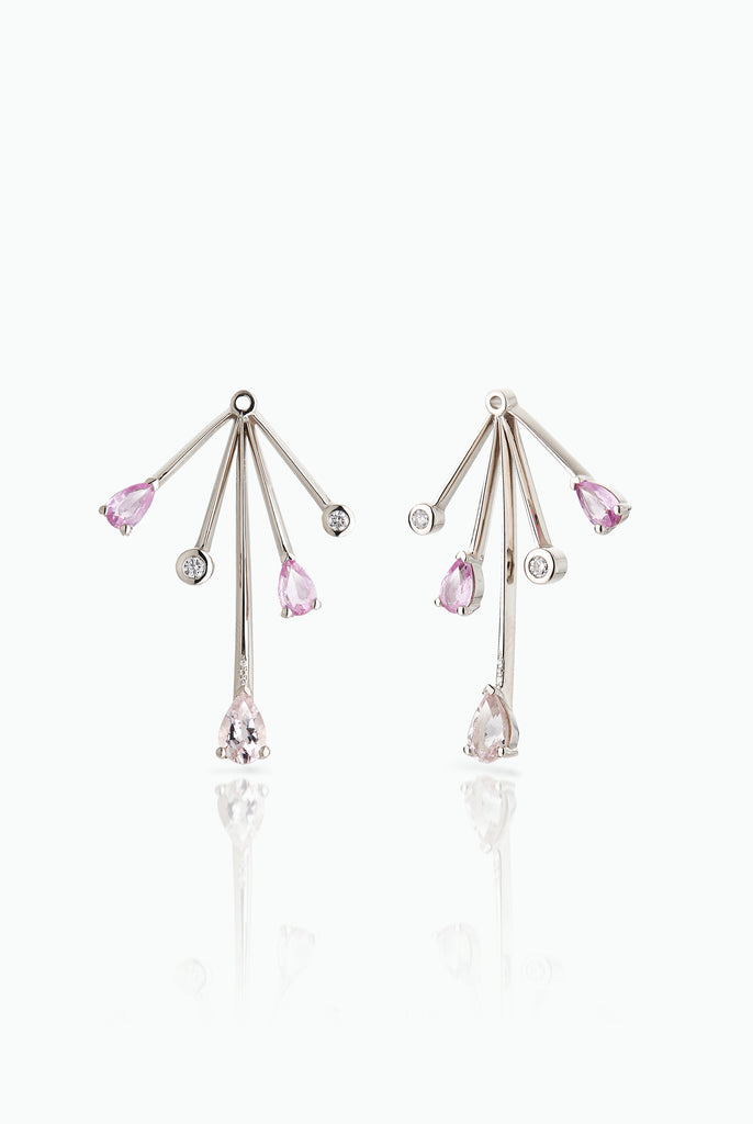 Cold Fall Out Jackets; 18 Carat White Gold with Morganites, Diamonds and Pink Sapphires. A statement earring jacket to dress up any stud. Bought as a single or pair.