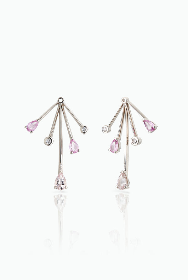 Cold Fall Out Jackets; 18 Carat White Gold with Morganites, Diamonds and Pink Sapphires. A statement earring jacket to dress up any stud. Can be bought as a single or pair.  Edit alt text