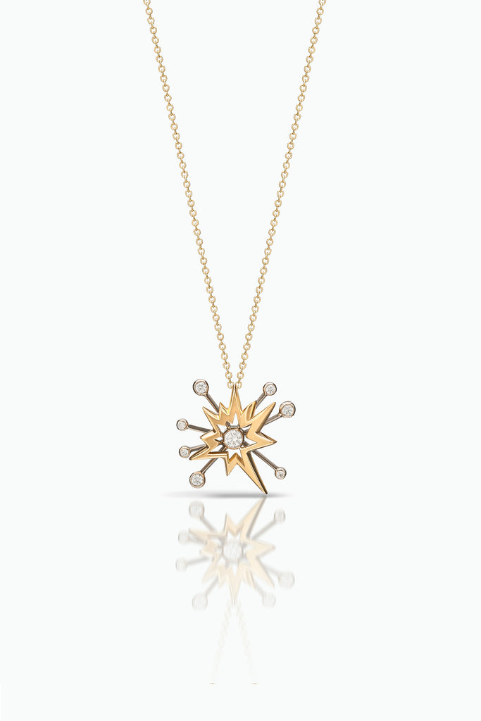 Crescendo: A modern burst of light, handcrafted necklace  in 18 Carat white and and yellow gold with brilliant cut diamonds.