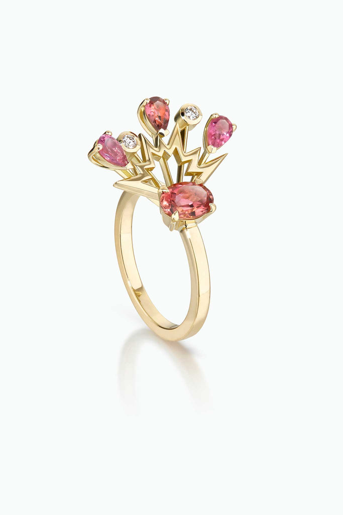 Cherry Bomb ring; 18 Carat yellow gold, with tourmalines, sapphires and diamonds. A statement ring.