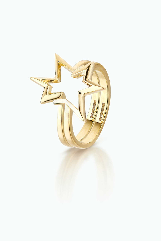 Titanium Salute; Double Stacking ring 18 Carat yellow gold ring. Modern graphic firework design.
