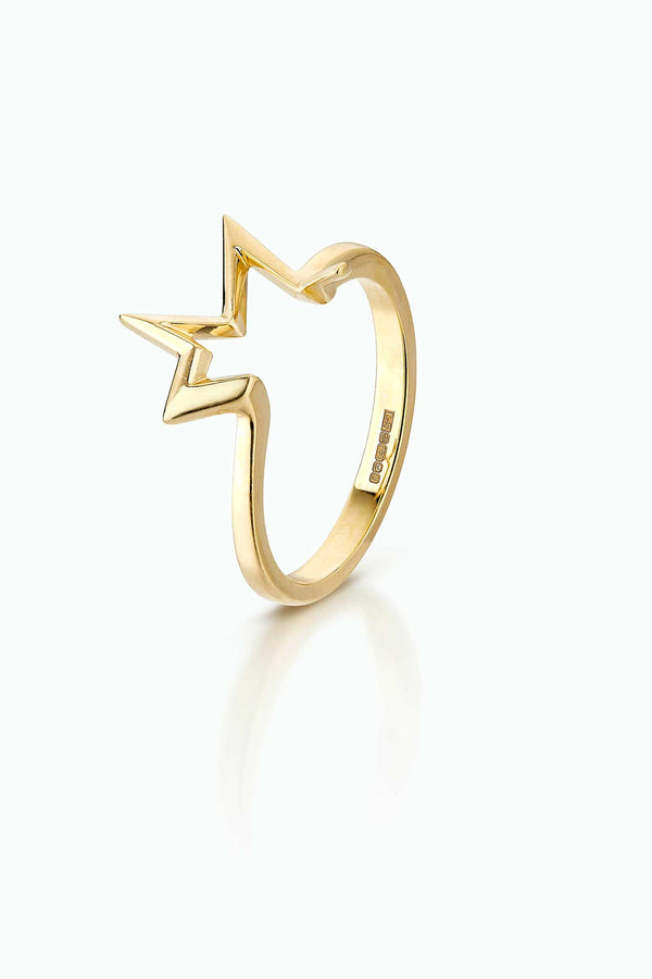 Titanium Salute, Single stacking ring 18 Carat yellow gold ring. Modern graphic firework design.