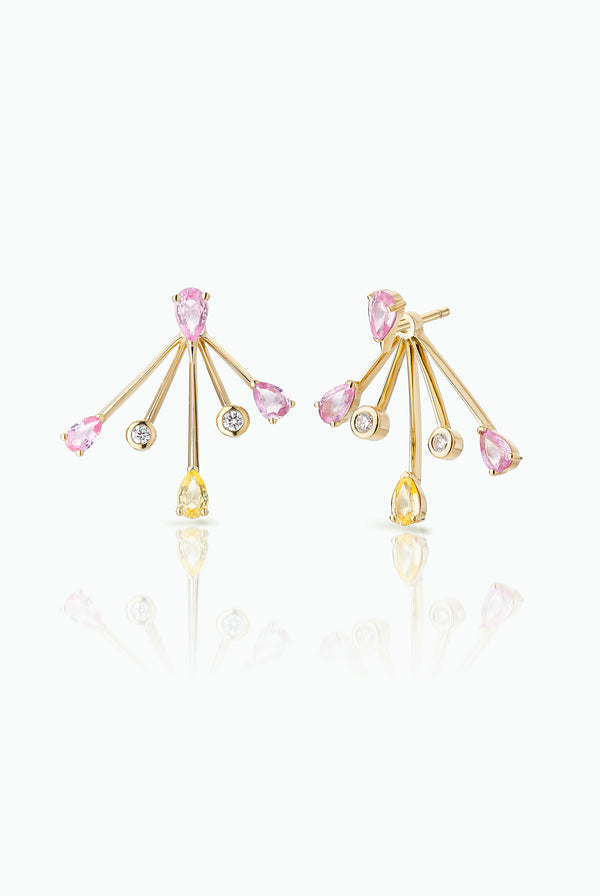 Cherry Trailblazer Jackets with Cherry Spark Studs.; 18 Carat Yellow Gold with, Diamonds Pink Sapphires and Tourmalines. Versatile in that they can be worn together or independently. Bought as a single or pair.