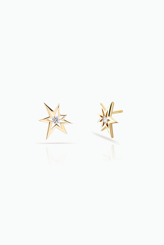 Bang studs; 18 Carat Yellow gold with diamonds. Modern design for everyday use. Bought as a single or a double.