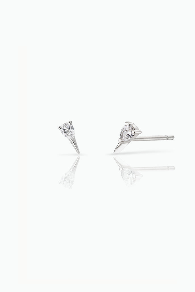 Diamond Spark Studs; 18 Carat White Gold. Easy to wear either as a single stud or double. Perfect for those who like to stack their earrings.