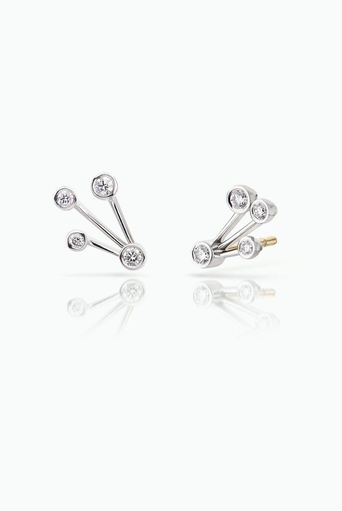 Hummer studs; 18 Carat white gold with Diamonds. Designed for those who want an easy to wear statement, day-in and day-out. Bought as a single or pair.