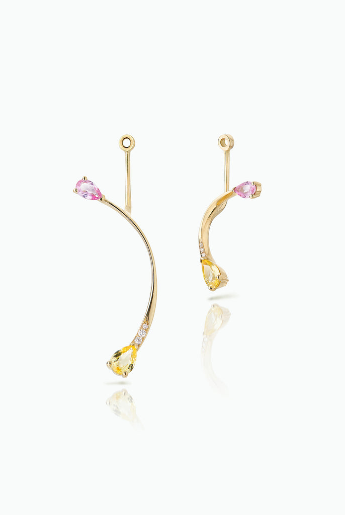 Rose More Jackets. Graceful flow of line, handcrafted in 18 Carat yellow gold with pear shaped Sapphire and Pave Set Brilliant Cut Diamonds. Ideal for those who like to mix and match their earrings.  Bought as a single or a pair.