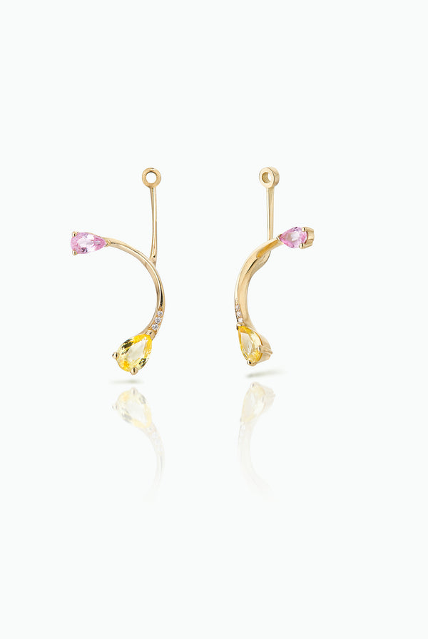 Rose More Jackets. Graceful flow of line, handcrafted in 18 Carat yellow gold with pear shaped Sapphire and Pave Set Brilliant Cut Diamonds. Ideal for those who like to mix and match their earrings. Bought as a single or a pair.  Edit alt text