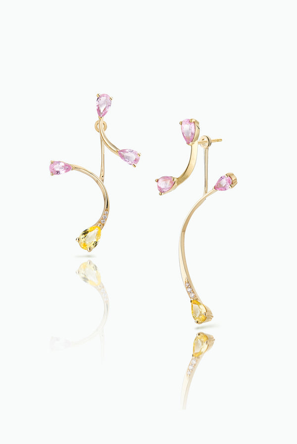 Pink Flare Studs with Rose More Jackets. Graceful flow of line, handcrafted in 18 Carat yellow gold with pear shaped Sapphire and Pave Set Brilliant Cut Diamonds. Ideal for those who like to mix and match their earrings. Bought as a single or a pair.